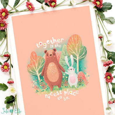 Woodland Bear and Rabbit Kids Print by Ink & Elk. Designed in Australia.