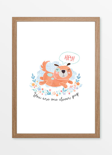 "Framed watercolour kids print ""You are one clever pup"", with puppy and floral design"