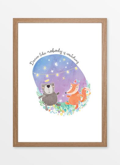 "Framed A3 watercolour nursery print and kids wall art, ""Dance Like Nobody is Watching"", featuring a dancing bear and fox"
