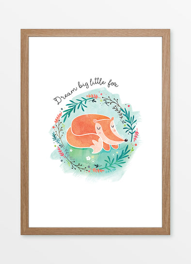 "Framed watercolour nursery print ""Dream Big Little Fox"", featuring a sleeping fox"