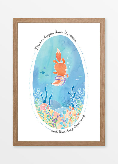 "Framed watercolour kids print ""Dream Deeper than the Ocean"", featuring a snorkeling fox"