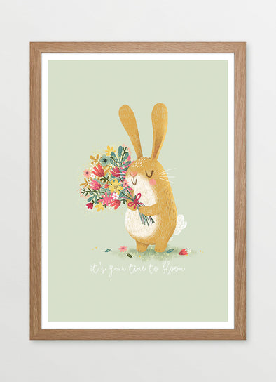 Blooming Bunny Rabbit Nursery or Kids Print