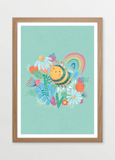 Bee Happy Framed Nursery & Kids Print - Ink & Elk