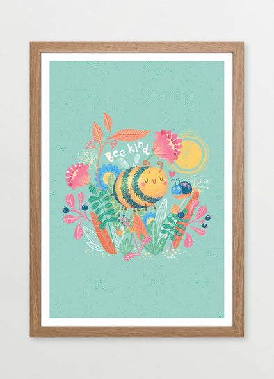 Bee Kind Framed Nursery & Kids Print - Ink & Elk