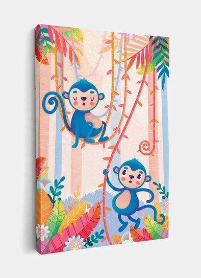 Mischievous Jungle Monkeys Nursery or Kids Print