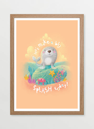 Little Splashy Seal Nursery or Kids Print