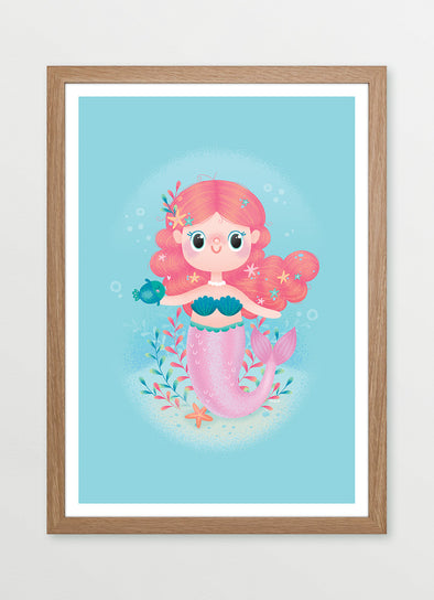 Ink & Elk Magical Mermaid framed kids wall art and nursery print