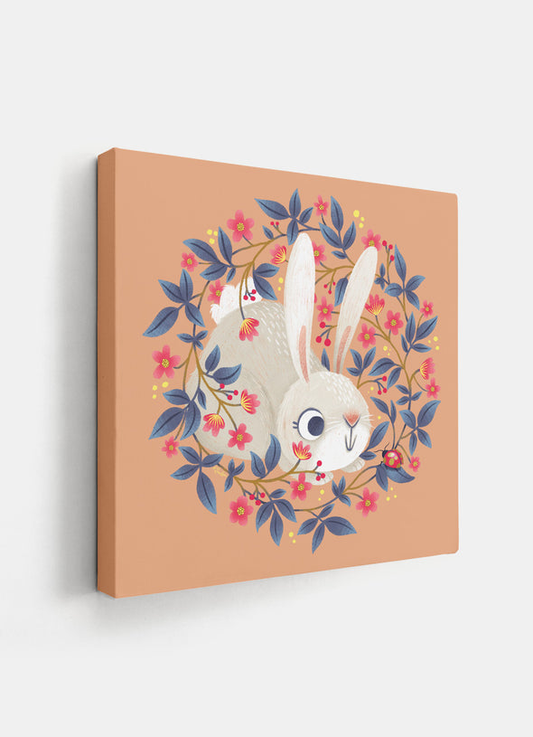 Ink & Elk Little Rabbit nursery canvas print angled view