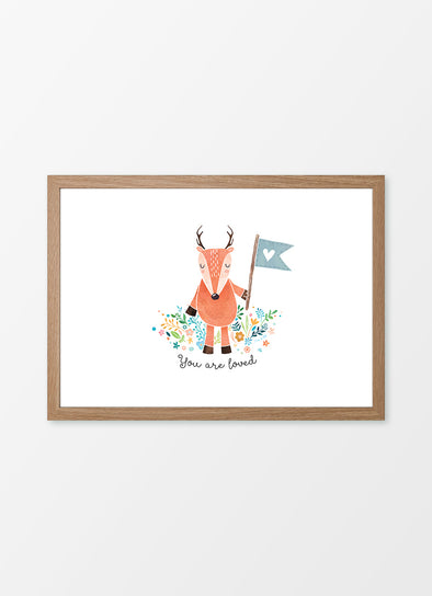 "Framed watercolour nursery print ""Little Deer"", featuring a deer with the caption ""You are loved"""