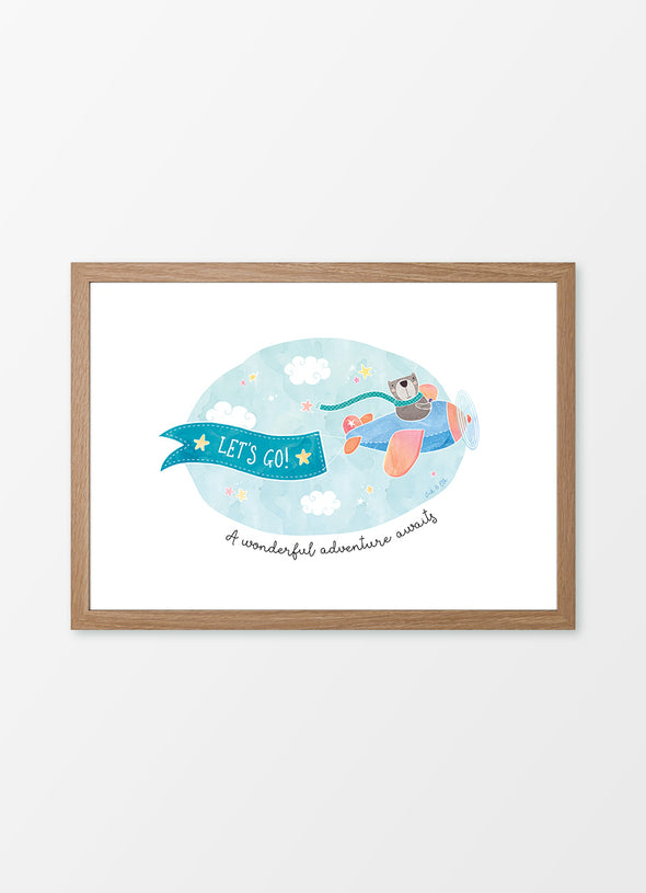 "Framed watercolour kids wall art ""Little Pilot"", featuring a bear in a plane with the caption ""A wonderful adventure awaits"""