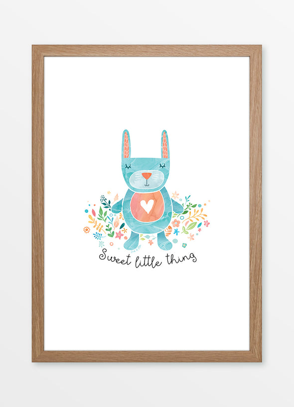 "Framed watercolour nursery print ""Sweet Little Rabbit"" featuring bunny and flowers"