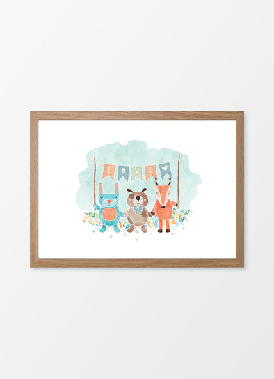 "Framed watercolour nursery print ""Little Woodland Love"", featuring a rabbit, puppy and fox"