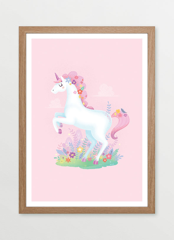 Ink & Elk Pink Prancing Unicorn framed kids print and nursery print in pink
