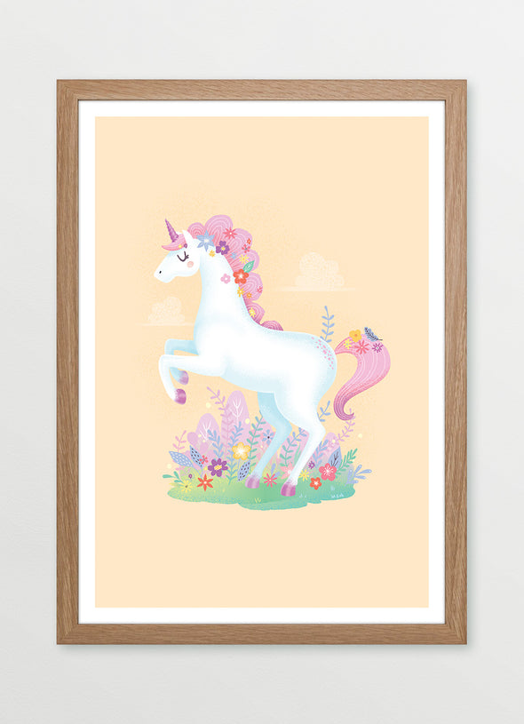 Ink & Elk Pink Prancing Unicorn framed kids print and nursery print in yellow