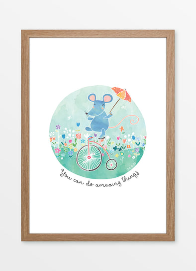 "Framed watercolour nursery print ""You can do amazing things"", featuring a mouse on a tricycle"