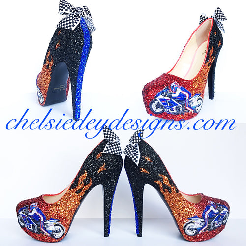 Motorcycle Racing Glitter High Heels, Red Orange Flame Pumps