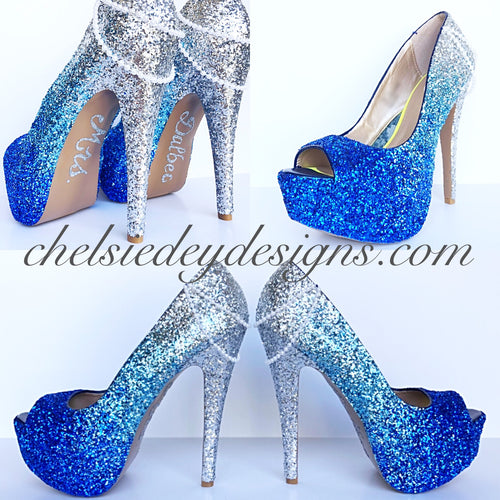 Glitter Peep Toe Pumps, Something Blue Ombre Wedding High Heels with Pearls