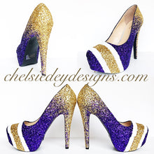 Minnesota Vikings Glitter High Heels, Purple Gold White Platform Pumps