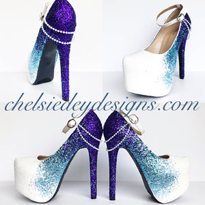 Purple Ombre Glitter High Heels, Something Blue White Wedding Shoes