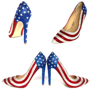 American Flag Rhinestone High Heels - USA Red White Blue Sparkly Pumps - Stars and Stripes Shoes