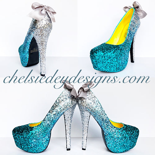 Ombre Glitter High Heels, Silver Aqua Teal Wedding Platform Pumps