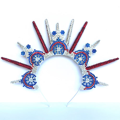 Rhinestone Headpiece - Red White Blue USA Crown - American Flag Headband
