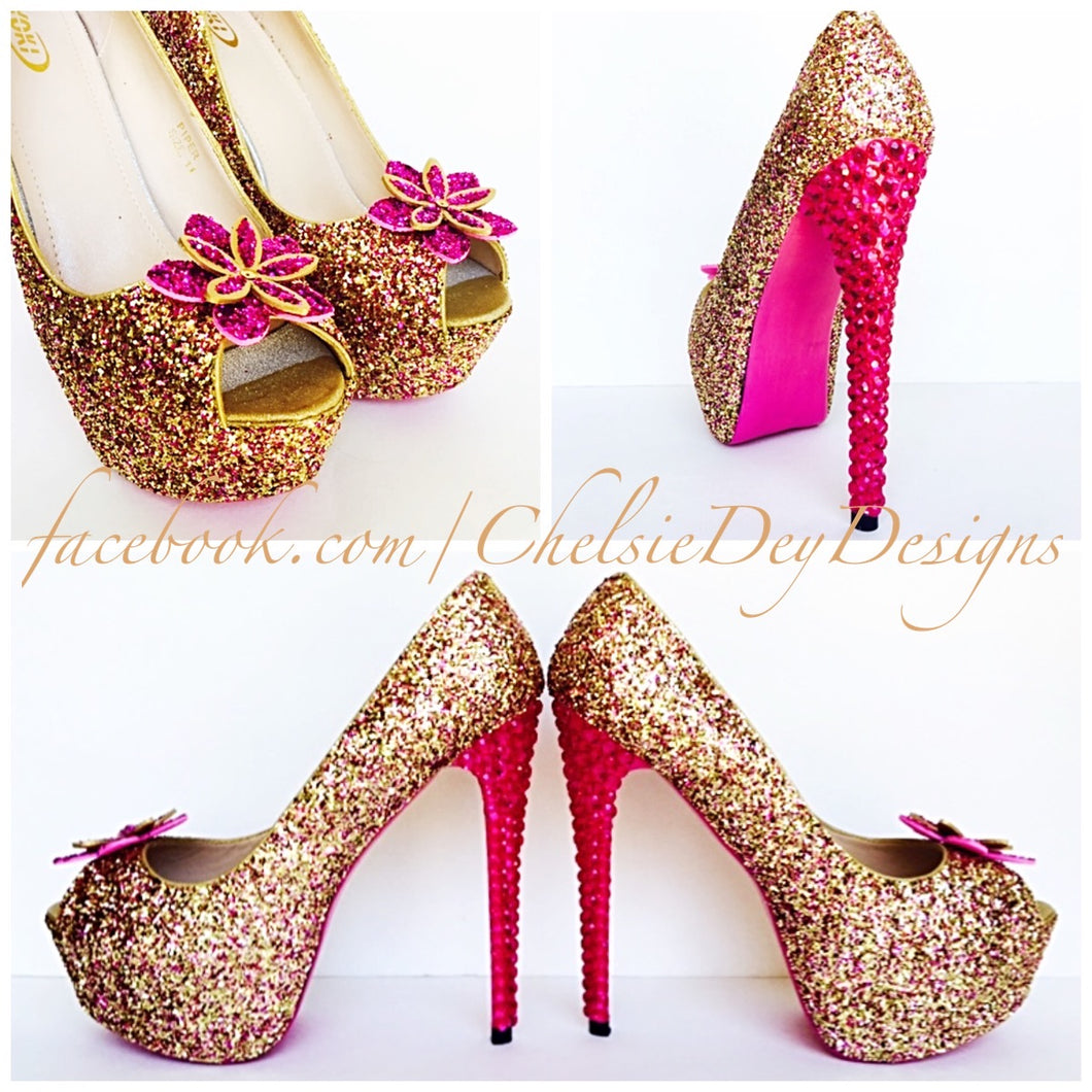 Glitter Peep Toe Glitter Pumps - Hot Pink Fuchsia Gold Open Toe Flower High Heels