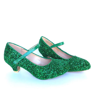 Green Glitter Girls Heels, Flower Girl Shoes