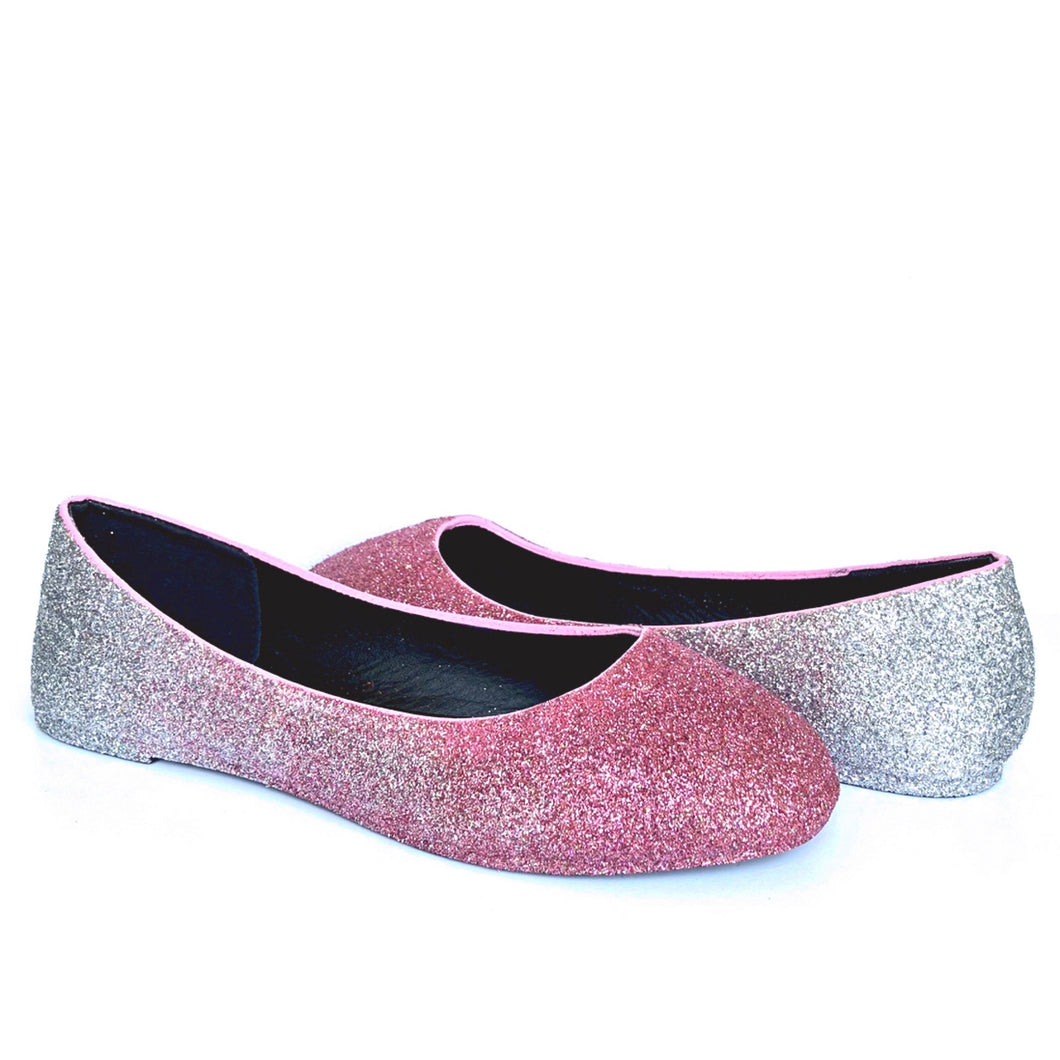 Pink Glitter Flats, Silver Ombre Ballet Shoes