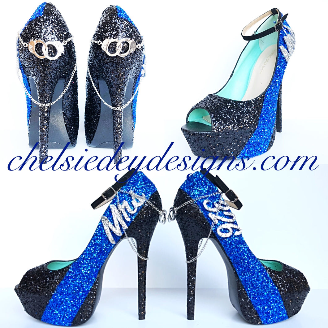 Police Glitter High Heels, Thin Blue Line Wedding Peep Toe Pumps