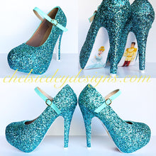 Cinderella High Heels, Tiffany Blue Robins Egg Platform Prom Pumps