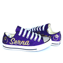 Glitter Converse - Purple Gold Wedding Sneakers - Last Name Flats