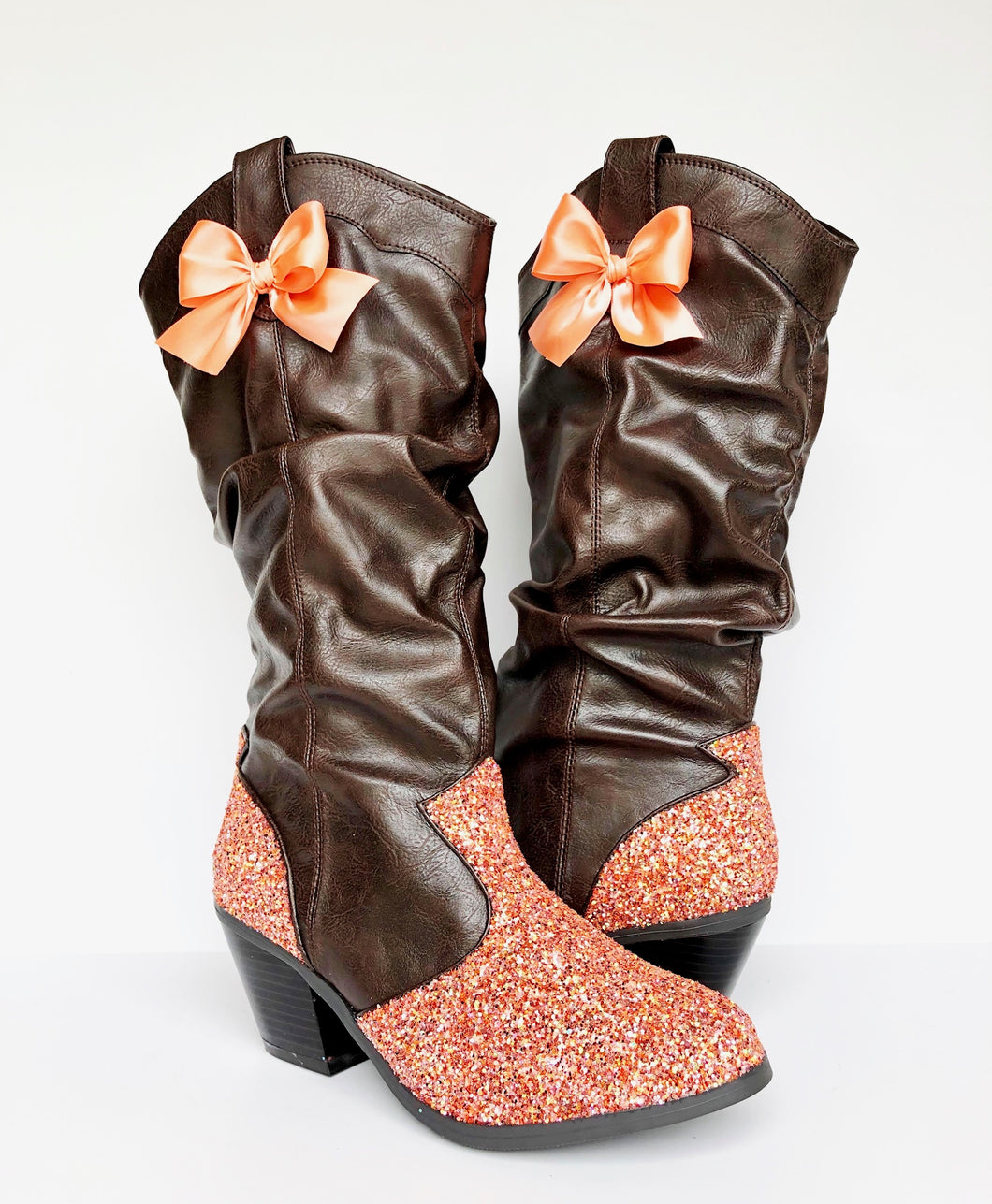 Glitter Cowboy Boots - Sparkly Coral Brown Cowgirl Boots