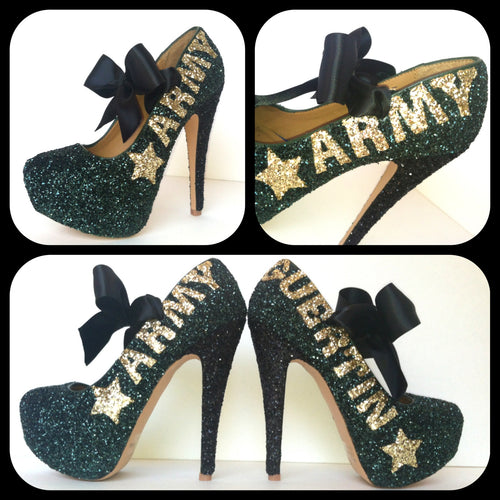 Army Glitter High Heels, Military Ball Green Platform Pumps