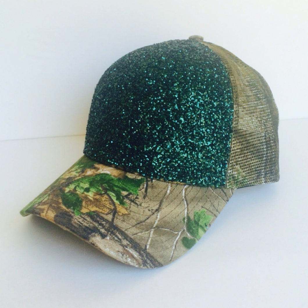 Camo Gitter Hat - Camouflage Baseball Cap - Real Tree Green Hat