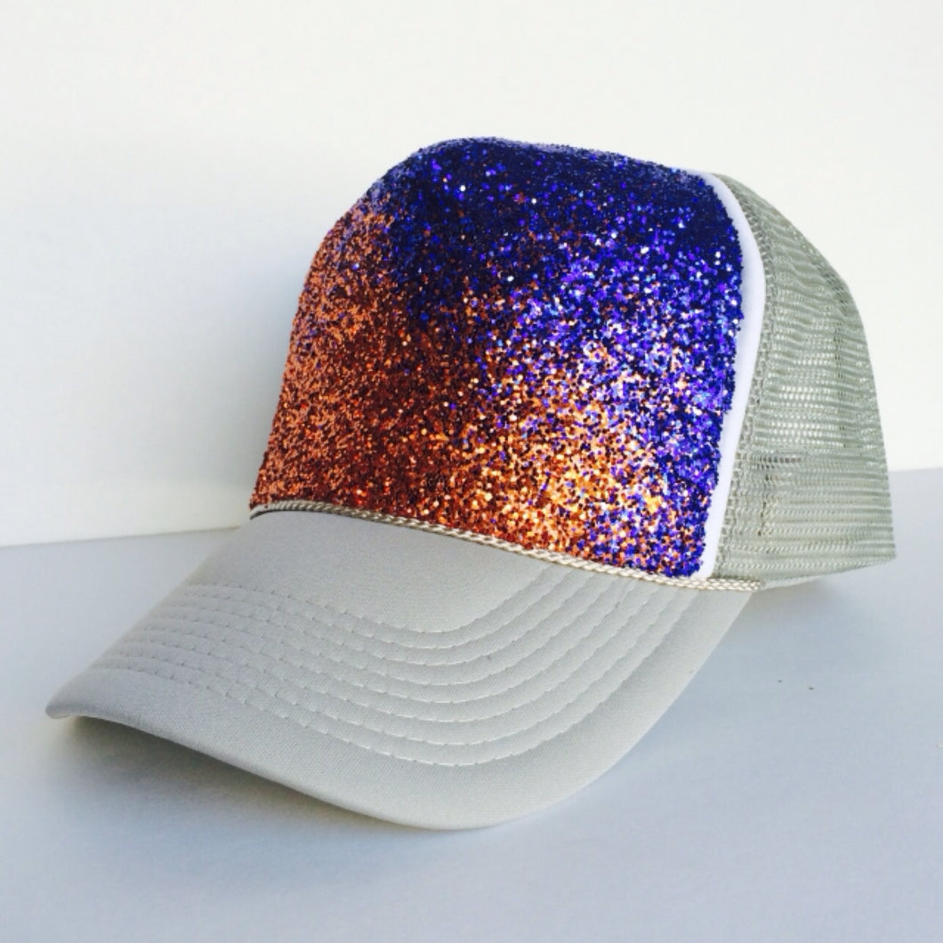 Gitter Hat - Orange Blue Grey Ombre Baseball Cap - Sparkly Snapback Hat