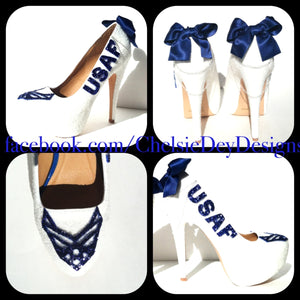 USAF Glitter High Heels, Air Force White Sparkly Wedding Pumps