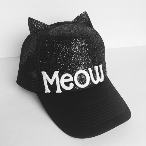 Gitter Hat - Black Cat Ears Baseball Cap - Meow Kitten Sparkly Snapback Hat