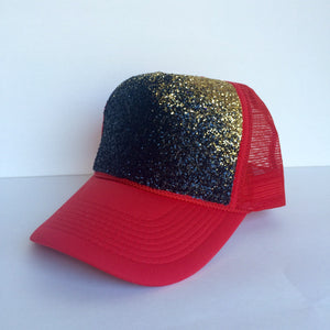 Gitter Hat - Red Gold Ombre Baseball Cap - Sparkly Snapback Hat