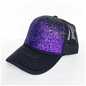 Gitter Hat - Purple Black Ombre Baseball Cap - Sparkly Snapback Hat