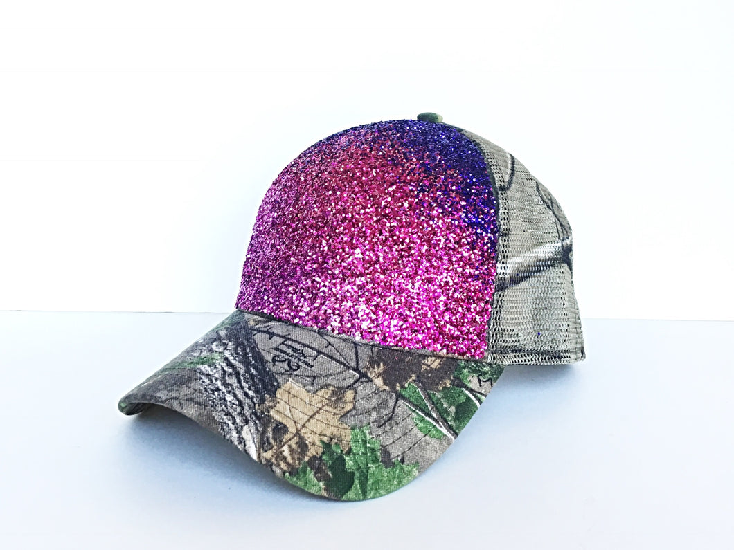 Camo Gitter Hat - Pink Purple Camouflage Baseball Cap - Real Tree Green Hat