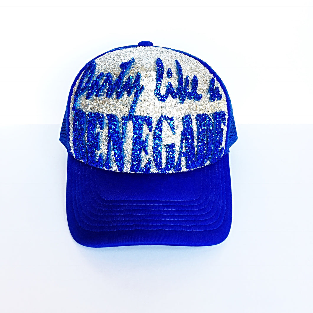 Gitter Hat - Party Like a Renegade Baseball Cap - Blue Silver Sparkly Snapback Hat