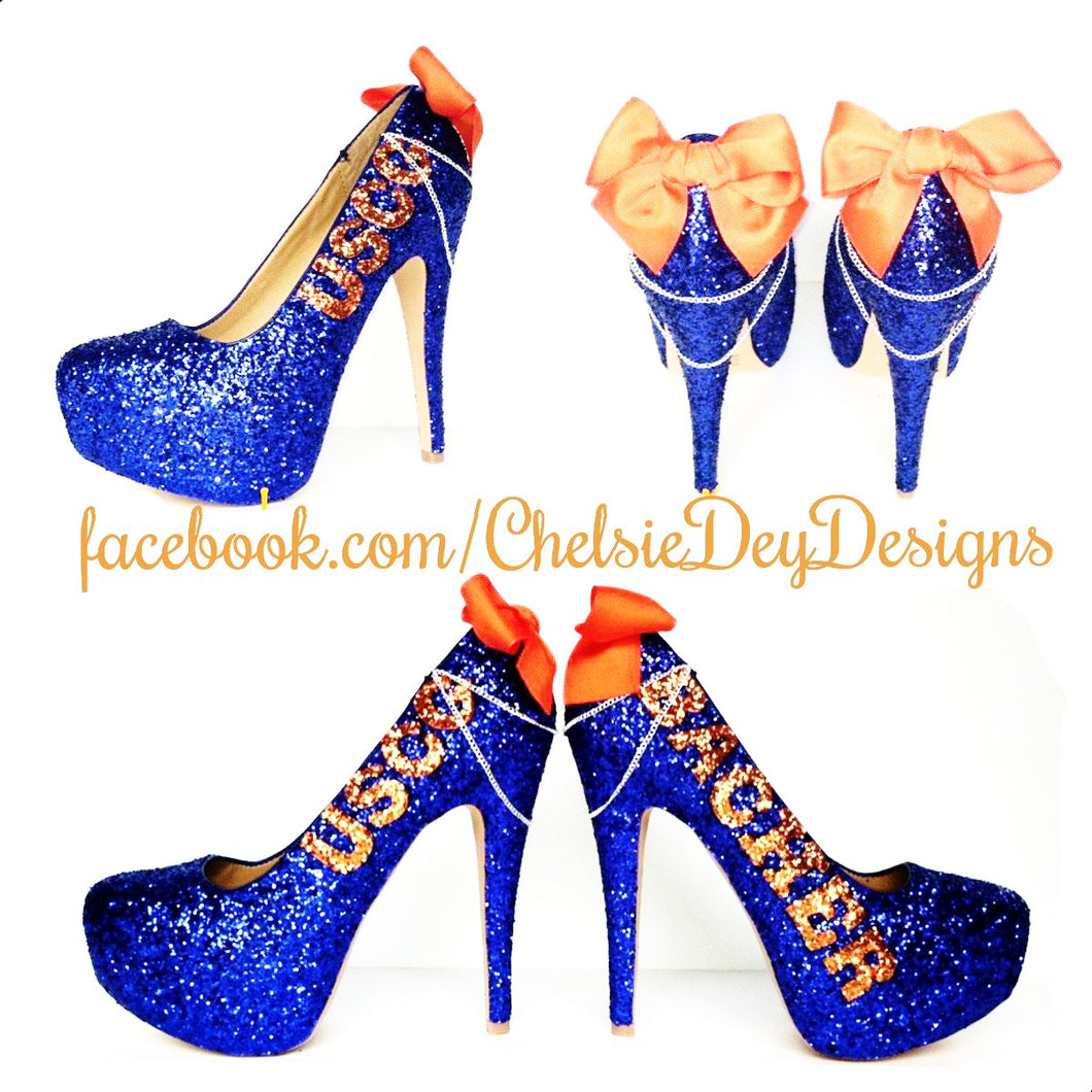 USCG Glitter High Heels, Coast Guard Blue Sparkly Pumps
