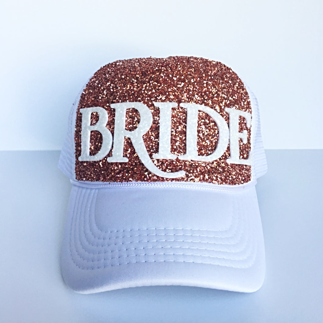 Gitter Hat - Bride Baseball Cap - Rose Gold Sparkly Snapback Hat