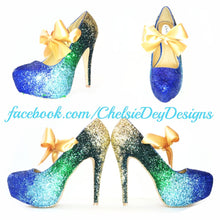 Peacock Ombre Glitter High Heels, Blue Green Gold Platform Pumps