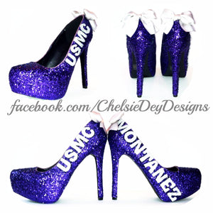 USMC Glitter High Heels, Marine Corps Purple Sparkly Wedding Pumps