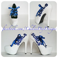Royal Blue Corset Ribbon Glitter Wedding High Heels with New Last Name