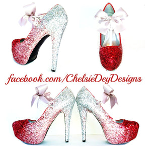 Red Glitter High Heels, Pink Silver Ombre Platform Prom Pumps