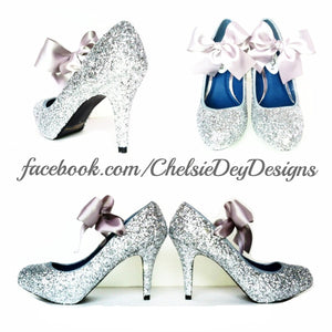 1dd38b304d70 Silver Glitter High Heels, Grey Wedding Shoes, Sparkly Gray Prom Pumps