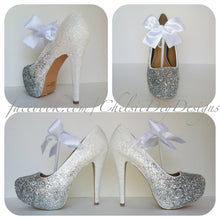 Glittered Ombre High Heels, White and Silver White Bow